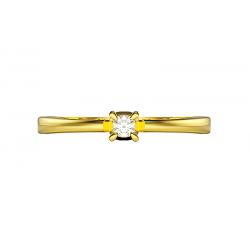 Komplet obrączek złotych serce łamane na pół damska zdobiona 4 kamieniami cyrkonie lub brylanty