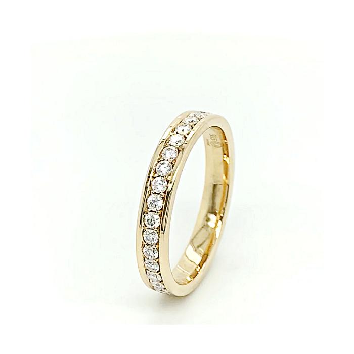 Zamówienie wspaniały pierścionek rząd diamentów w szlifie brylantowym do połowy dookoła złoto 585 14K