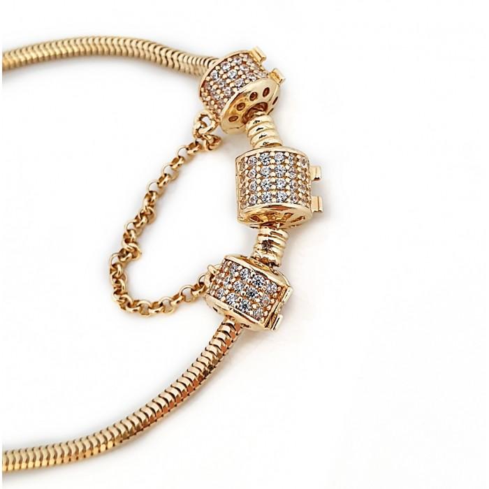 zamówienie - Bransoletka elementowa złota 585 14K podstawa z stoperem i blokadą