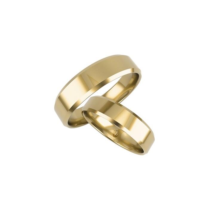 """Zamówienie złote obrączki 585 14K prosty profil, fazowane krawędzie """"średnio"""""""
