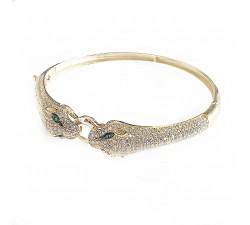Ekskluzywna złota bransoletka 585 głowy Pumy Pantery z cyrkoniami sztywna