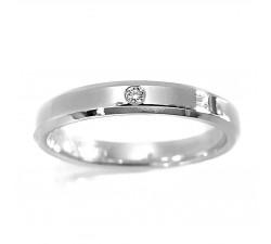 Zamówienie obrączka z diamentem w szlifie brylantowym białe złoto 375 palladowe 12% prosta klasyczna fazowane boki