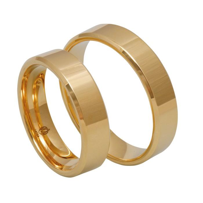 Zamówienie para obrączek złotych prostych klasycznych fazowane boki  4 mm próba 585 14K