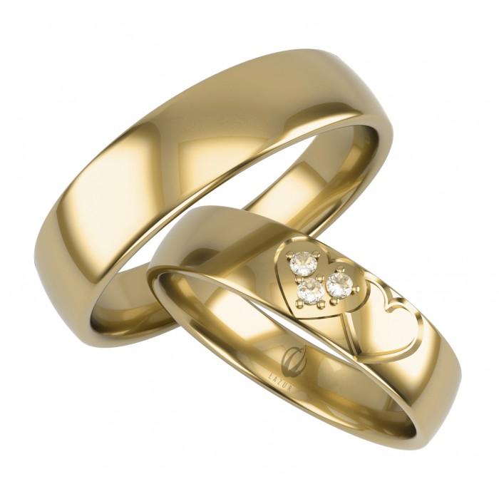 Obrączki złote 333 8K dwa łączone serca z brylantami motyw miłości