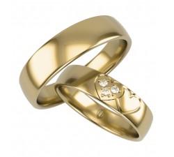 Obrączki złote 585 14K dwa łączone serca z brylantami motyw miłości
