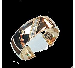 Zamówienie złote obrączki 585 6 mm klasyczne lekko półokrągłe z diamentami