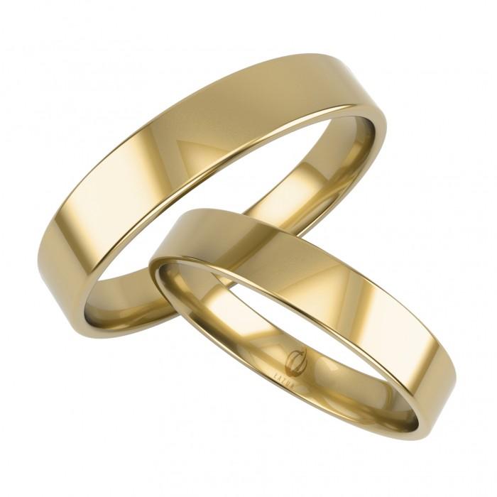 Zamówienie P. Filip para obrączek prostych 3.5 mm / 5 mm, płaski profil klasyczny złoto 585 14K
