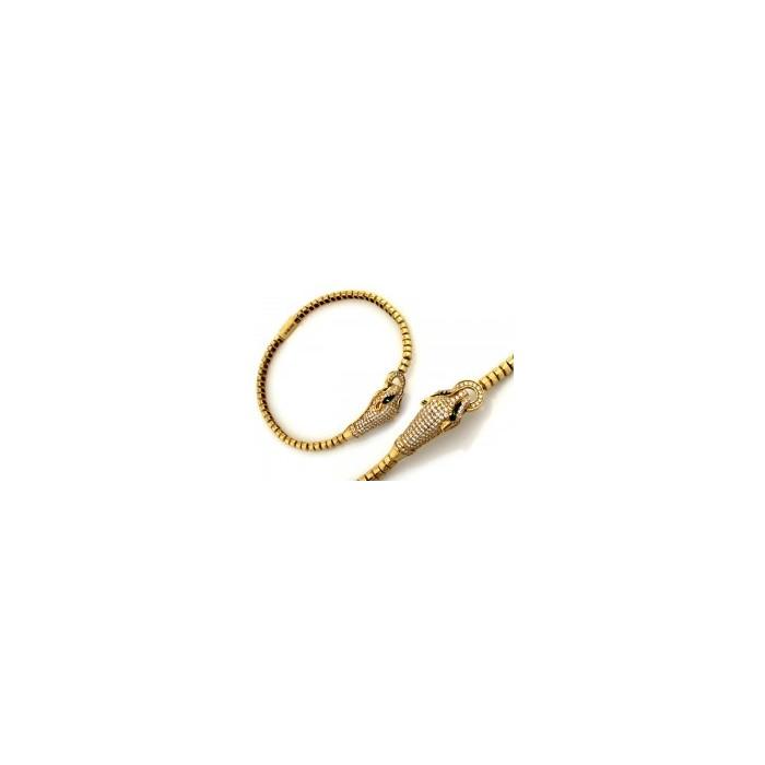 Ekskluzywna złota bransoletka 585 głowy Pumy Pantery z cyrkoniami 19 cm