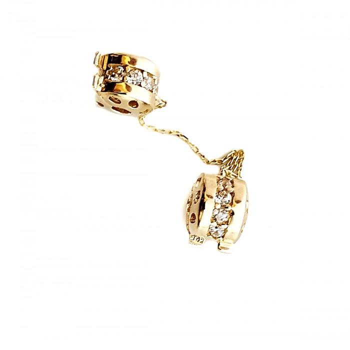 Złoty 585 14K stoper z łańcuszkiem zabezpieczającym do bransoletki