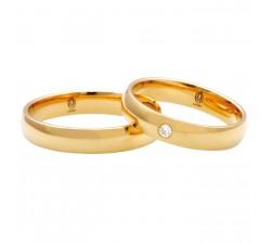 Zamówienie P. Klaudiusz Para obrączek klasycznych półokrągłych złoto 585 z jednym kamieniem