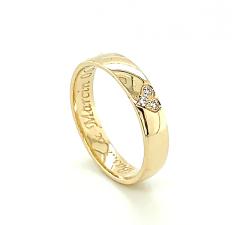 Zamówienie P. Piotr obrączka złota 585 z sercem profil lekko półokrągły z diamentami