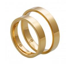 Zamówienie para obrączek prostych 2.5 mm / 3.5 mm, płaski profil klasyczny złoto 585 14K