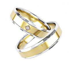 Zamowienie Para obrączek złotych 585 14K łączone kolory białe i żółte 5 mm wielokolorowe zdobione fasetką