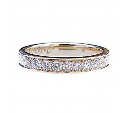 Wspaniały pierścionek obrączka 4 mm rząd cyrkonii 2 mm dookoła złoto 585 14K