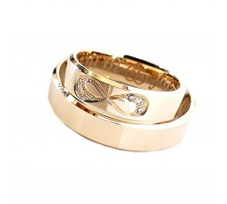 Niecodzienne obrączki złote 750 18K 4.5 mm z diamentami fazowane krawędzie i znak nieskończoności wysadzany brylantami