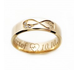 Niecodzienne obrączki złote 333 8K 4.5 mm z diamentami fazowane krawędzie i znak nieskończoności wysadzany brylantami