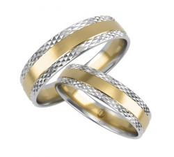 Para obrączek 585 14K łączone złoto białe i żółte z zdobieniami