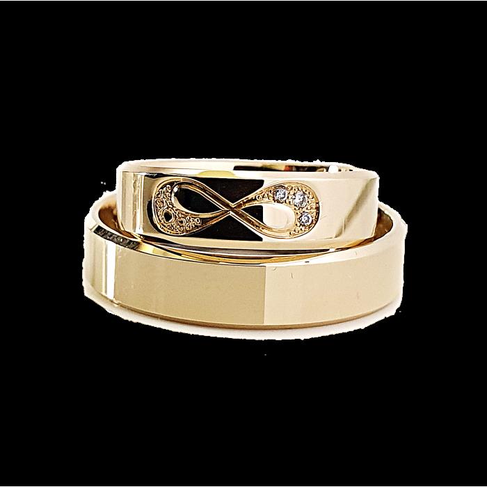 Niecodzienne Para obrączek złotych 375 9K 5 mm z diamentami fazowane krawędzie i znak nieskończoności wysadzany brylantami