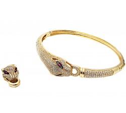 Ekskluzywna złota bransoletka 585 głowa Pumy Pantery z cyrkoniami sztywna
