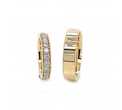Zamówienie ekskluzywny komplet obrączek rząd diamentów złoto 585 14K