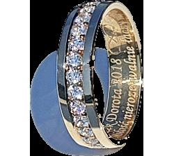 Zamówienie P. Wioletta para obrączek złotych  z diamentami w rzędzie dookoła