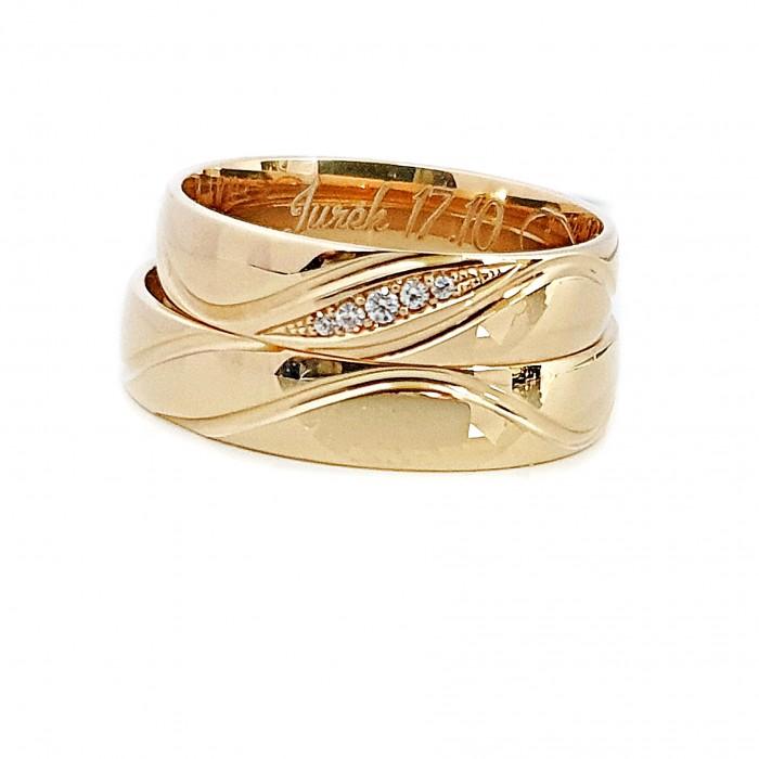Zamówienie Para obrączek profil lekko półokrągłych z brylantami w łezce złoto 585
