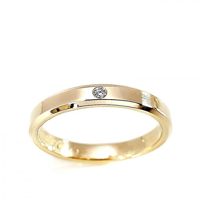 Zamówienie P. Patrycja para obrączek złotych z diamentem proste klasyczne fazowane boki 3 mm próba 375 9K