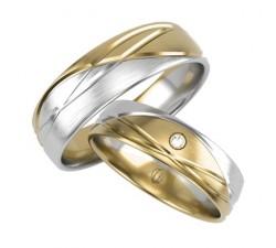 Zamówienie P. Marzena obrączki z diamentem łączone złoto białe z żółtym 585 14K
