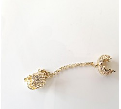 Złoty 585 14K stoper z łańcuszkiem zabezpieczającym do bransoletki elementowej