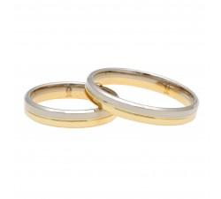 Para obrączek złotych 5 mm 585 14K łączone dwa kolory białe palladowe i żółte