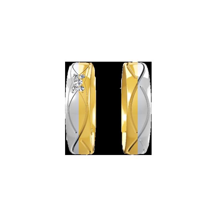Projekt indywidualny obrączek złotych 5 mm 585 14K łączone dwa kolory białe palladowe i żółte diamenty