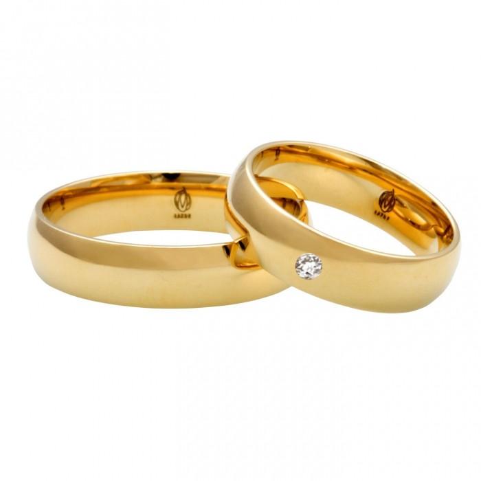 Zamówienie obrączka 6 mm klasyczna półokrągła złoto 375 9K z diamentem