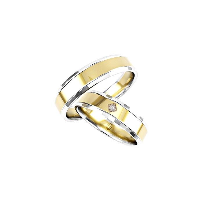 Zamowienie Para obrączek złotych 585 14K łączone kolory białe i żółte 5 mm z diamentem