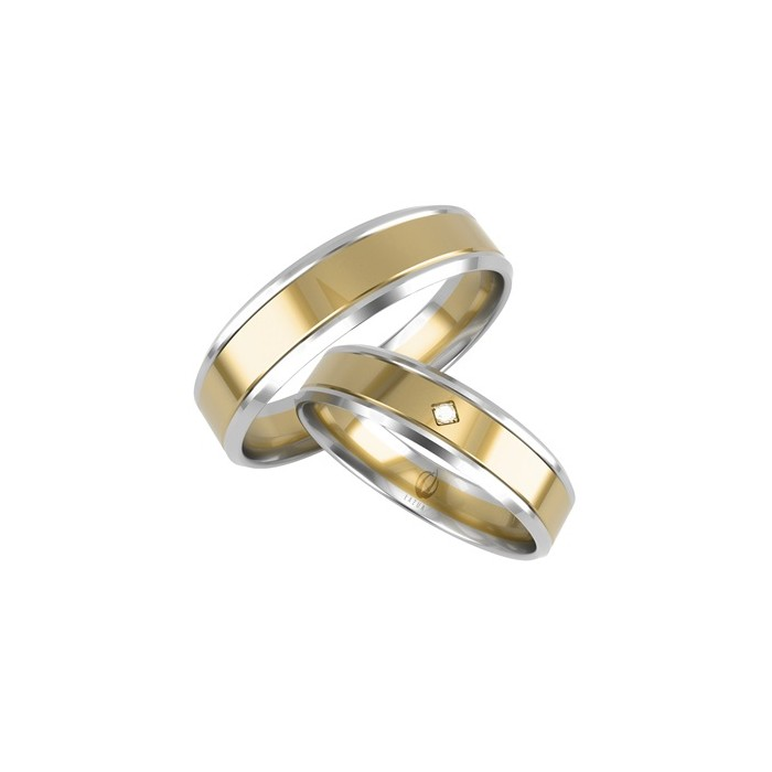 Para obrączek złotych 585 14K P. Dominka łączone kolory białe i żółte 5 mm