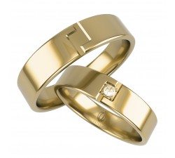 Obrączki złote 5 mm z brylantem motyw grecki złote 585 14K