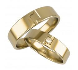 Obrączki złote 5 mm z brylantem motyw grecki złote 333 8K