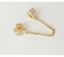 Złoty 585 14K stoper serce z łańcuszkiem zabezpieczającym do bransoletki elementowej