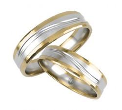 Obrączki w złocie 585 14K łączone białe i żółte złoto z delikatnym zdobieniem