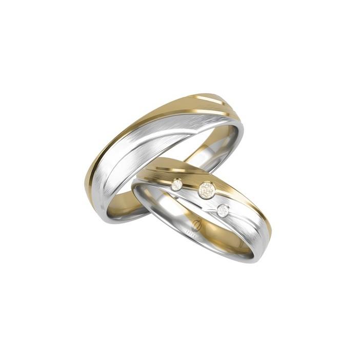 Para obrączek 585 14K łączone dwa kolory złota po fali brylanty