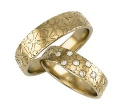 Para obrączek z brylantami złoto 585 14K zdobione frezem 6 mm