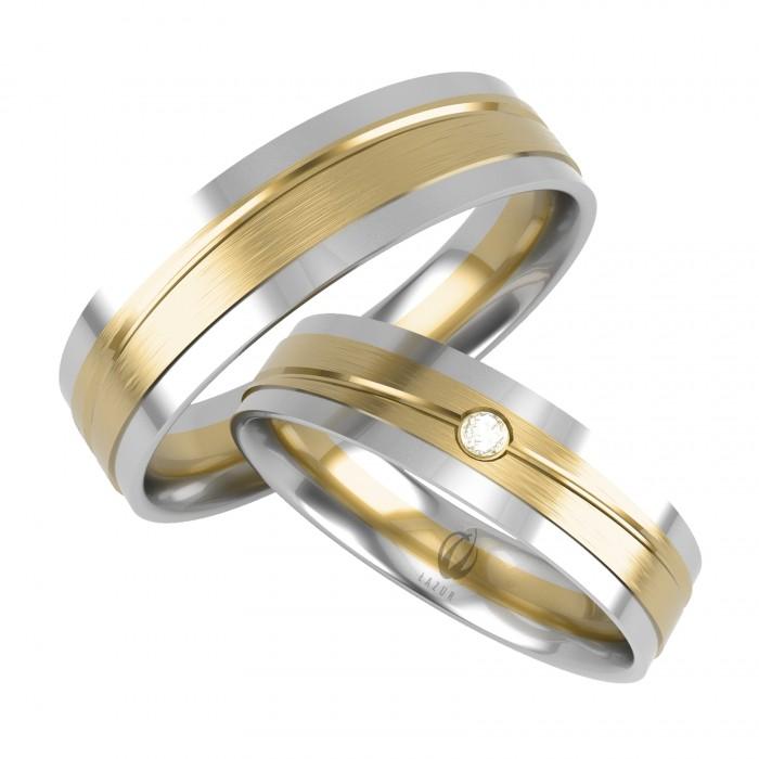 Para obrączek proste łączone złoto białe z żółtym oraz jeden brylant