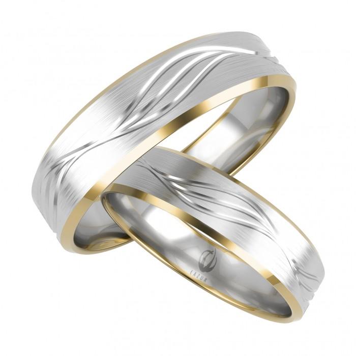 Obrączki złote proste fazowane boki z frezem ozdobnym żółte i białe złoto
