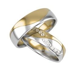 Para obrączek dwa kolory złota łączone po fali z brylantami 585 14K