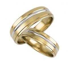Obrączki komplet o prostym profilu żółte złoto i zdobiący pasek białego złota