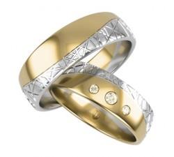 Obrączki białe złoto 585 palladowe hipoalergiczne łączone z żółtym, obrączki zdobione frezem