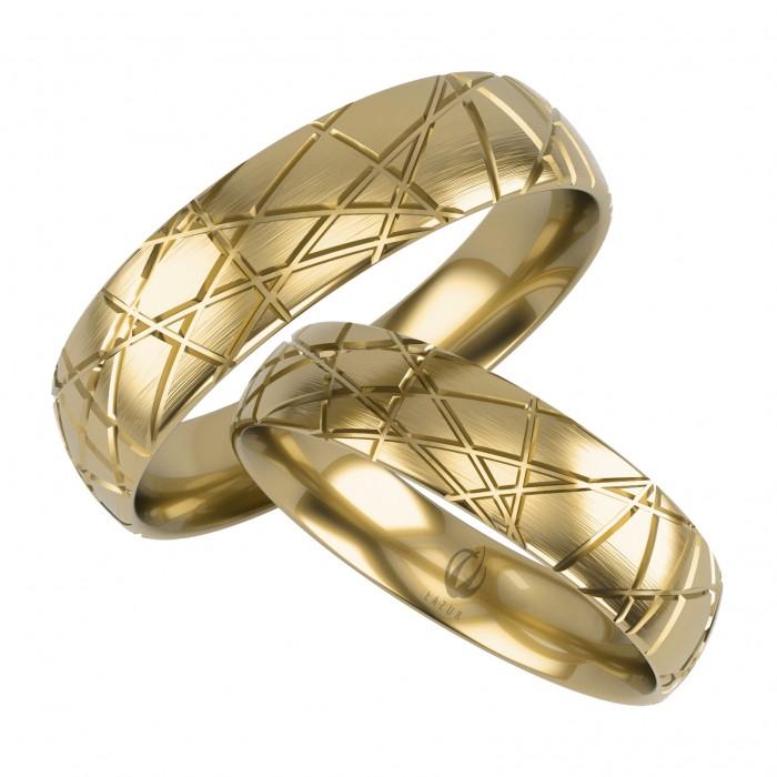 Obrączki zdobione z złota 585 14K wzór nowoczesny NOWOŚĆ