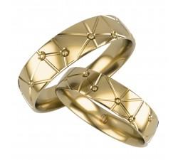 Para obrączek z wzorem gwiazdozbioru wykonane z złota 333 8K