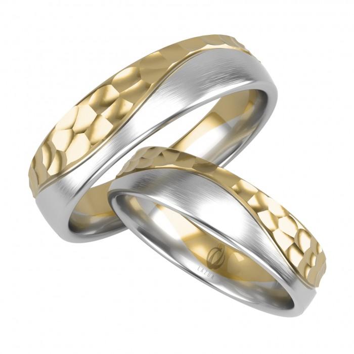 Para obrączek z złota 585 14K łączone kolory białe i żółte po fali młotkowane