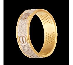 Pierścień z złota próby 585 14K 6.5 mm wysadzany cyrkoniami z elementami śrubek
