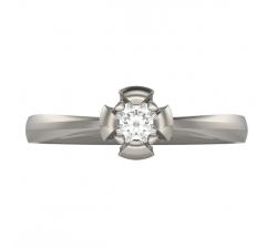 Pierścionek z białego złota 585 14K z brylantem w klasycznej oprawie